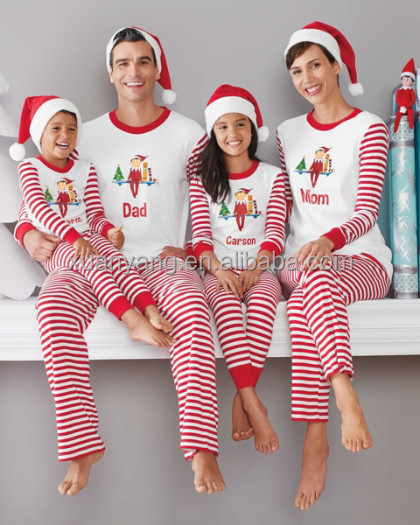 weihnachten pyjamas set passende familie streifen. Black Bedroom Furniture Sets. Home Design Ideas