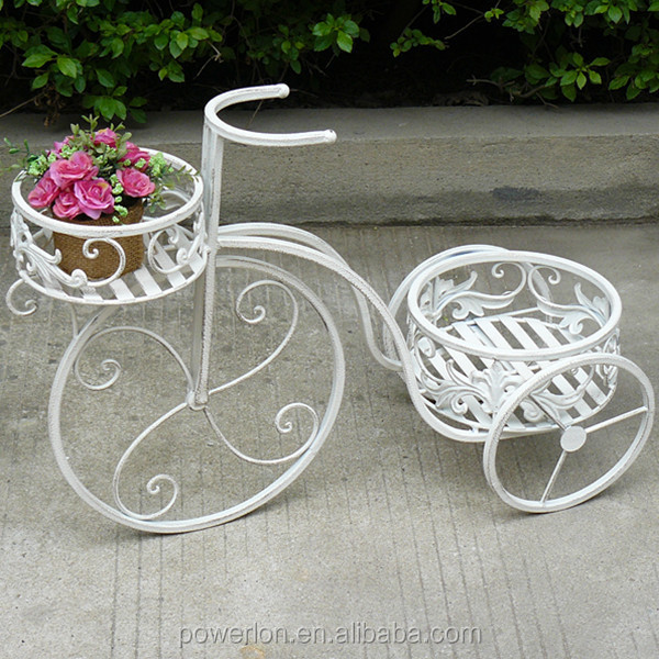 2-tier Wrought Iron Patio Decorative Bicycle Flower Pots Pl08-6645 ...
