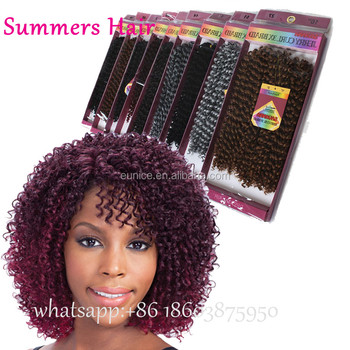 Freetress Deep Wave Twist Crochet Braiding Hair Ombre Color Curly