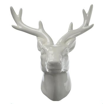 White Ceramic Deer Head Wall Decor With Gloss Finish