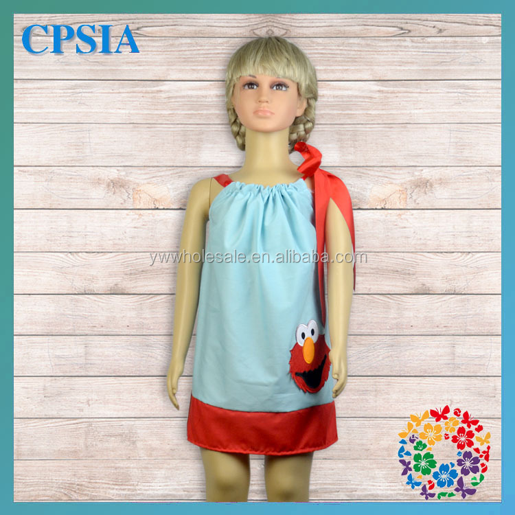 2014 Custom Boutique Elmo Inspired Pillowcase Dress Fashion Cotton Baby Clothes For Girl Summer Dress