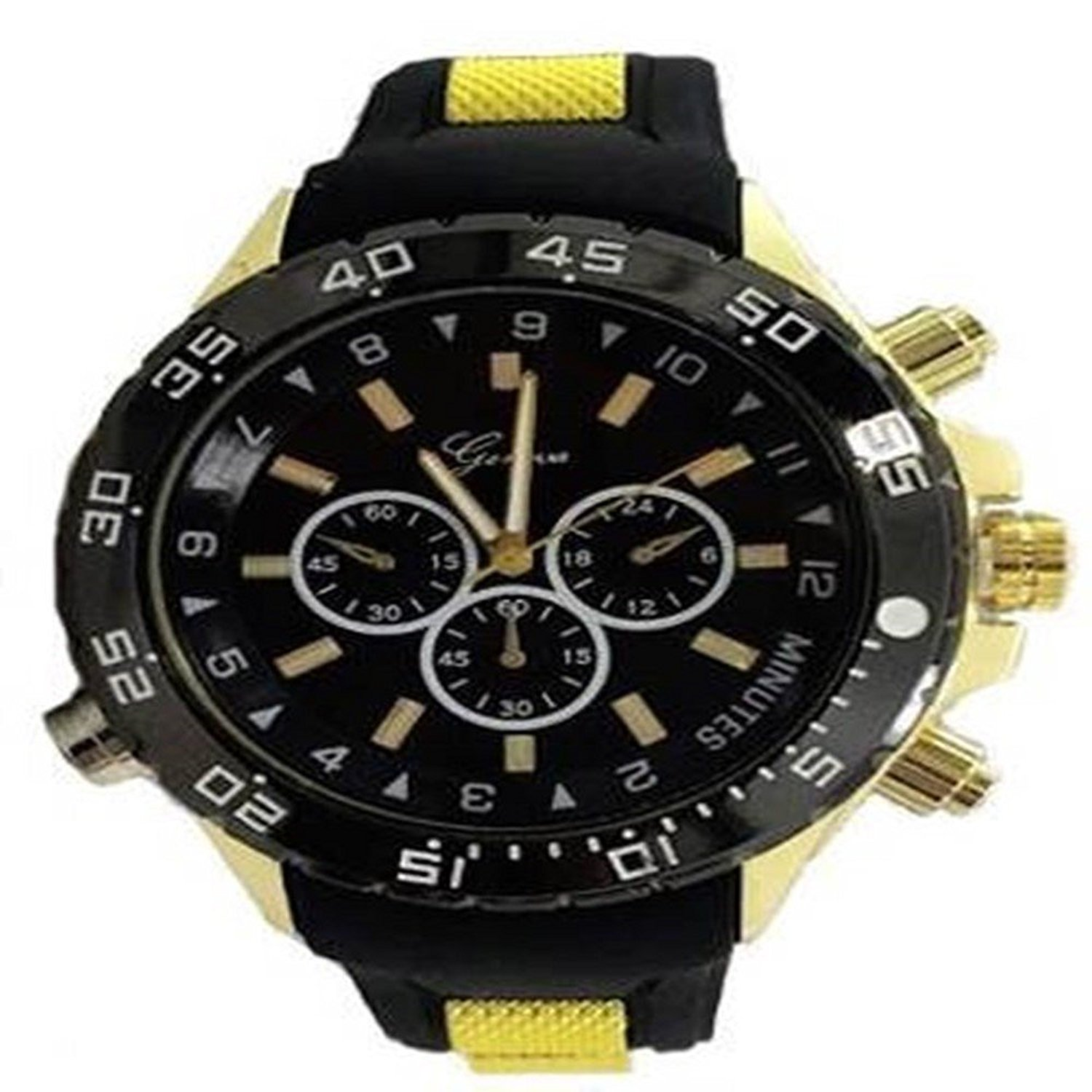 Gold Black Mens Watch Geneva Metal Oversized Boyfriend Designer Fashion Sport