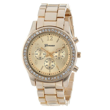 Essential Shock Resistant Faux Chronograph Quartz Plated Classic Round Ladies Women Crystals Watch