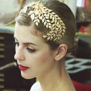 Fashion gold jewelry bridal headpiece with leaf shape baroque crown with comb