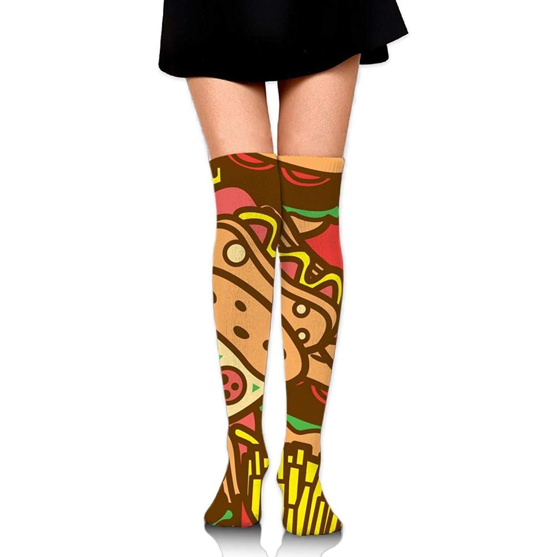 Zaqxsw Pizza Food Women Vintage Thigh High Socks Cotton Socks For Ladies