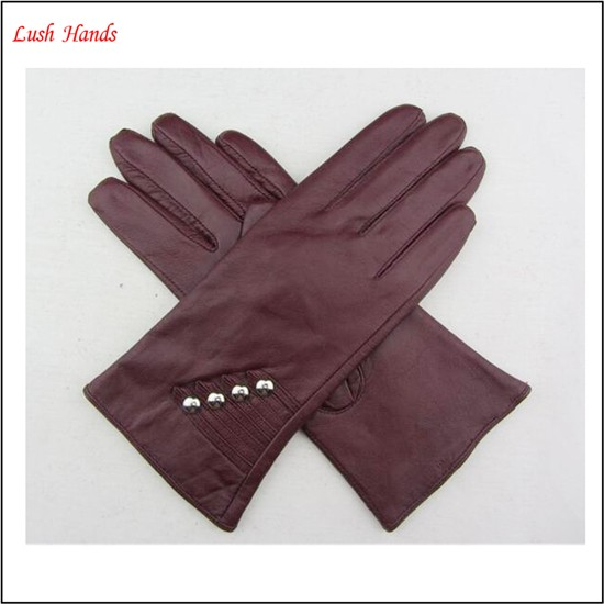 Ladies fashion red nappa sheep leather gloves