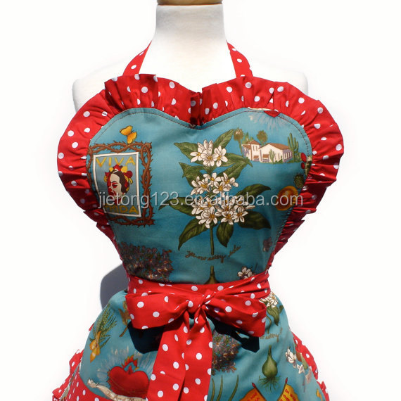 Thanksgiving Christmas Blue and Red Woman Cleaning Kitchen Beauty Apron cooking aprons