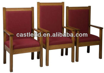 Church Pulpit Chair,with High Back Platform Chair,red Fabric Covered Seat U0026  Back