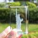 3d laser etched crystal rectangle block crystal Statue of Liberty building promotional gift souvenir gift of tourism