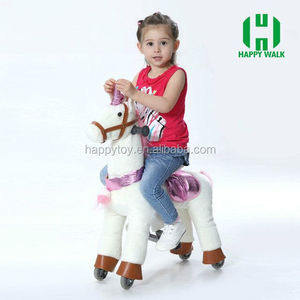 Hot sale CE kid riding plastic horse toy wooden rocking horse on wheels