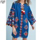 Boho ladies western dress designs cotton embroidery latest short dress