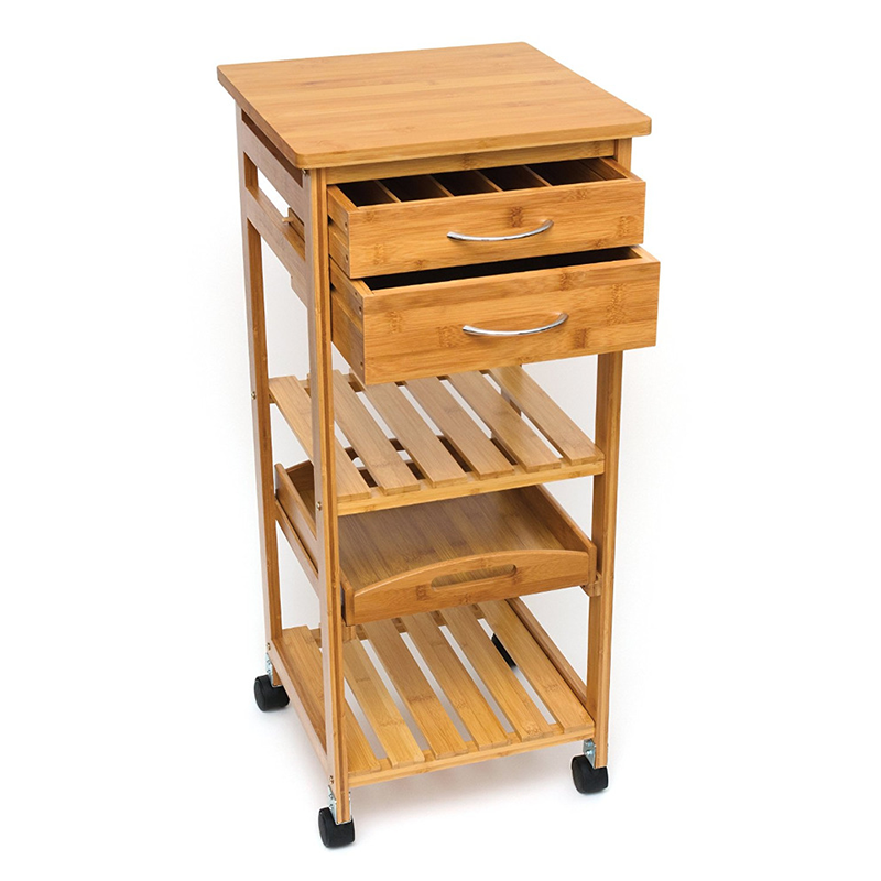 Movable Wooden Bamboo Kitchen Trolley