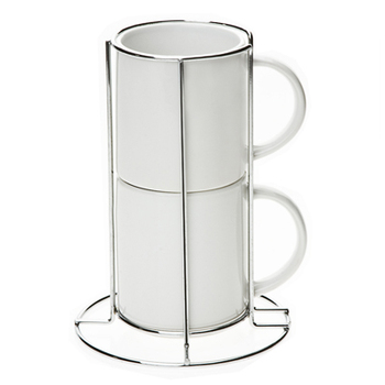 Sublimation Stacking Blank Ceramic 10oz Coffee Mug Set Of 2 Pieces With Chrome Metal Rack