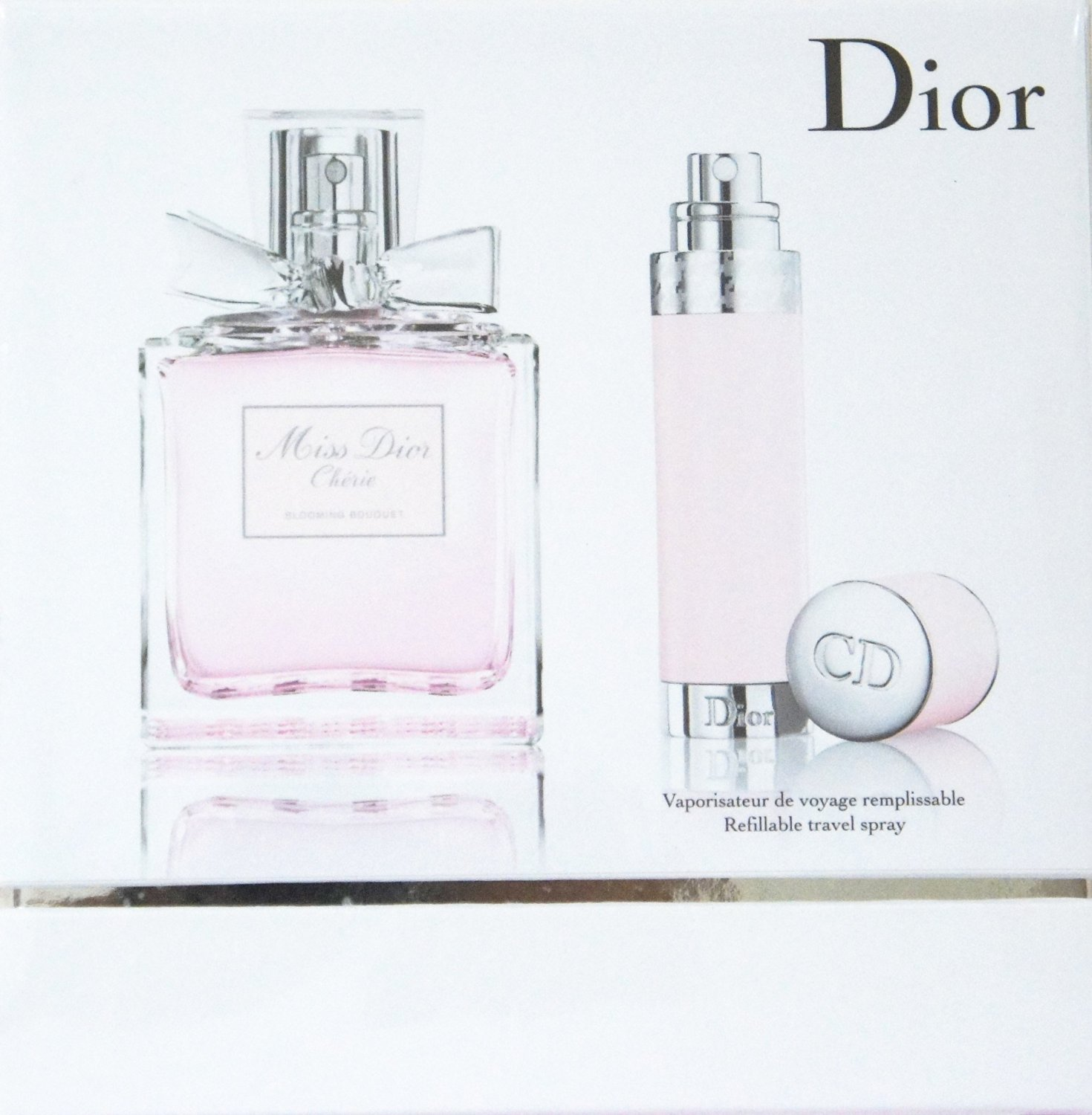 Miss Dior Cherie BLOOMING BOUQUET 2-Piece Gift Set for WOMEN (100 ml EDT Spray, 7.5 ml Travel Spray Refillable)