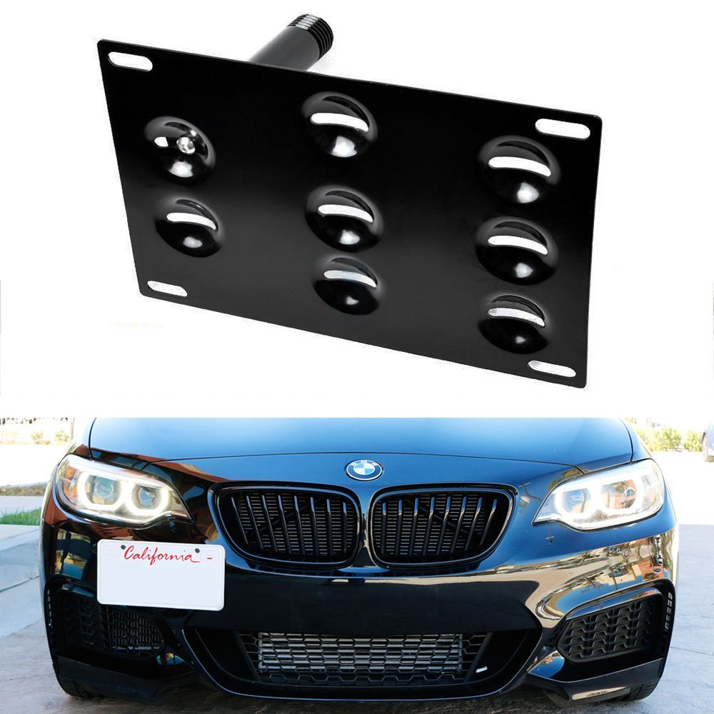 iJDMTOY Euro Style Front Bumper Tow Hole Adapter License Plate Mounting Bracket For BMW (F22 F30 F31 F32 F33 F34 G11 2 3 4 7 Series)
