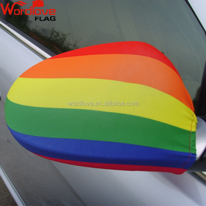 New design personalized six colors printed custom rainbow car mirror cover flag for gay pride day