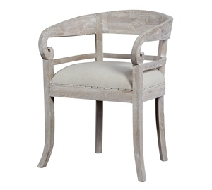 French antique white fabric upholstered solid oak wood carved dining chair