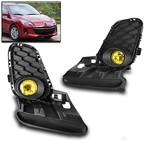 ZMAUTOPARTS Mazda 3 4/5Dr Bumper Driving Fog Lights Lamp Yellow W/Cover+Wiring Harness