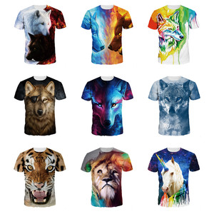 all over sublimation printing 3d animal t-shirt in europe