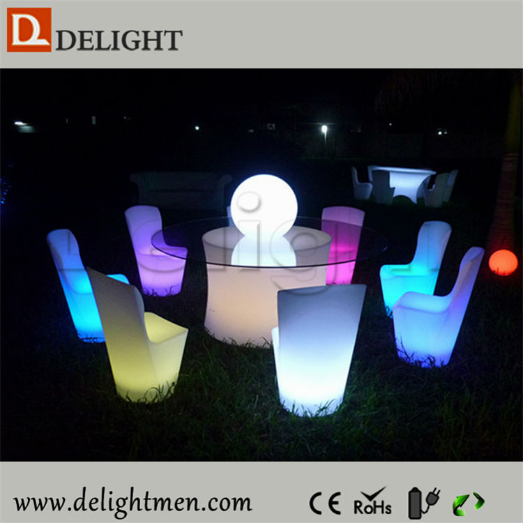 Commercial outdoor ip65 glowing 16 color wireless control led roll back dining chair