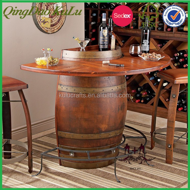 Nouveaut tonneau en bois d corative de table bar baril for Bar barril de madera