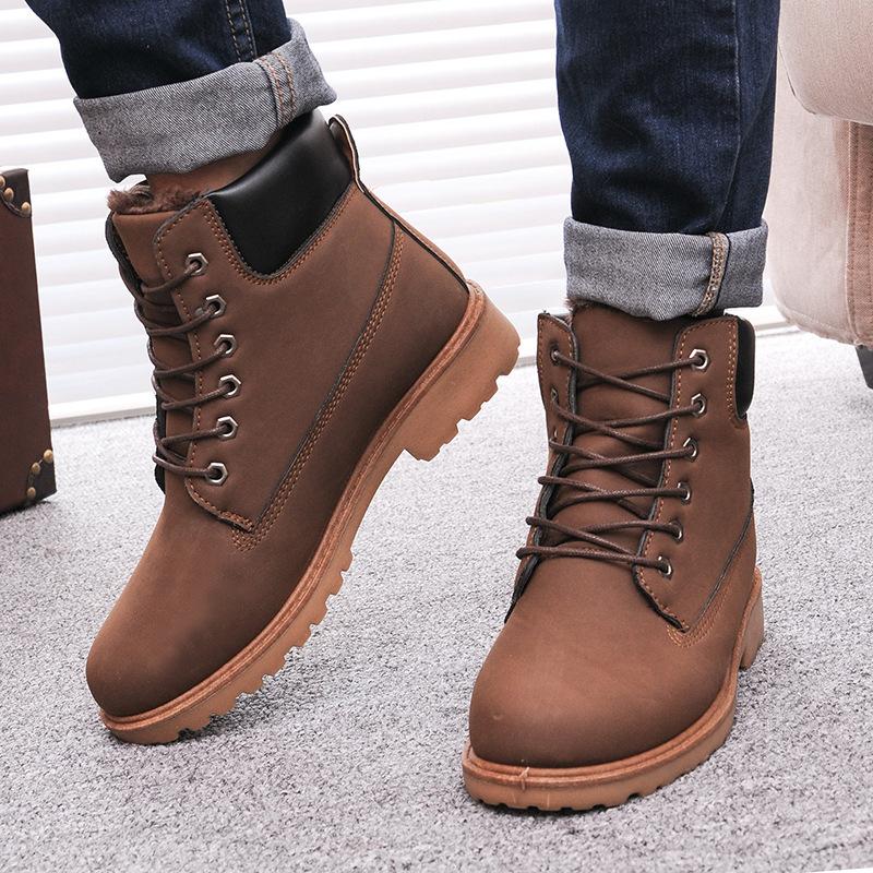 5fb4f4a05320 Мужчины зимние сапоги 2016 новый искусственная кожа мужчины сапоги горячая  распродажа англии плюс хлопок снегоступы обувь мужчины теплая зима мужская  обувь