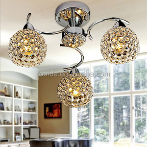 Modern Crystal chandelier with 3 Lights Chrom, Flush Mount Chandeliers Modern Ceiling Light Fixture for Hallway, Entry, Bedroom,