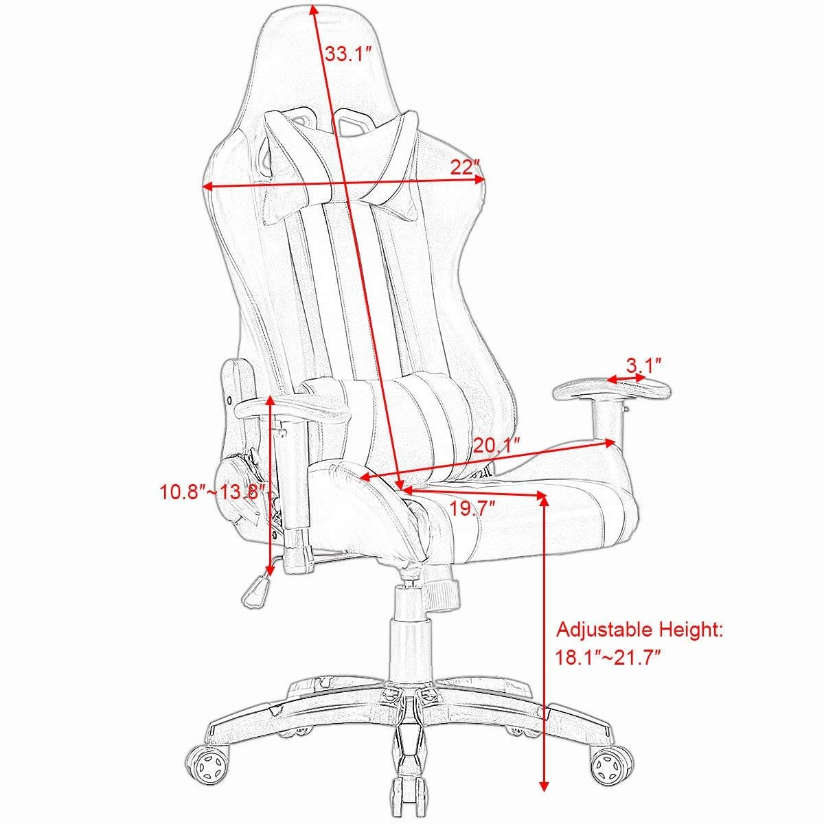Svitlife Executive Racing Style High Back Reclining Chair Gaming Chair Office Computer Executive Recliner Reclining Computer