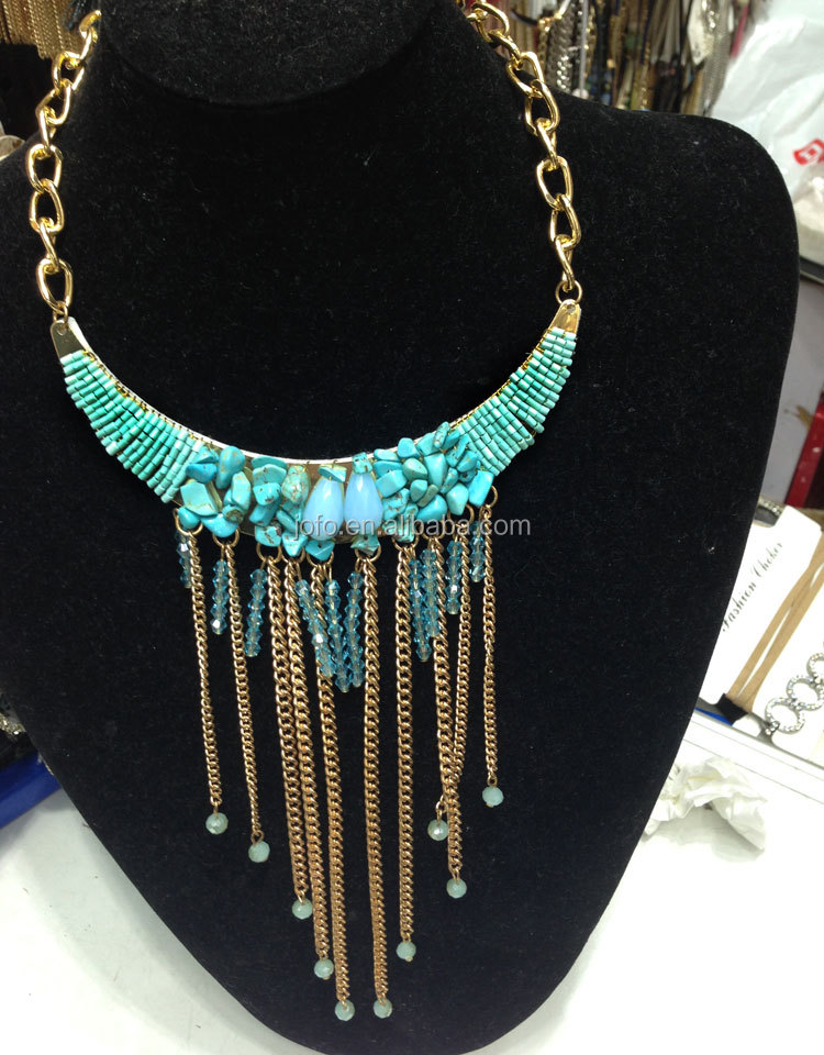 Fashion Jewelry Charming Turquoise Crystal Tassel Bride Necklace For Women