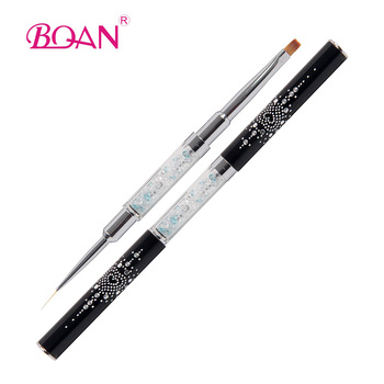 Professional 2 Tips Rhinestone Decorated Striper Pen Nail Art Striping Brush And One Stroke
