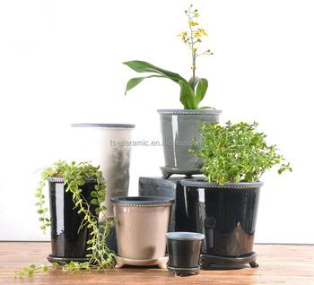 Decor A La Maison Moderne En Ceramique Emaillee Pot De Fleur Avec Trois Pieds Soucoupe Buy Pot De Fleur Avec Soucoupe Pot De Fleur En