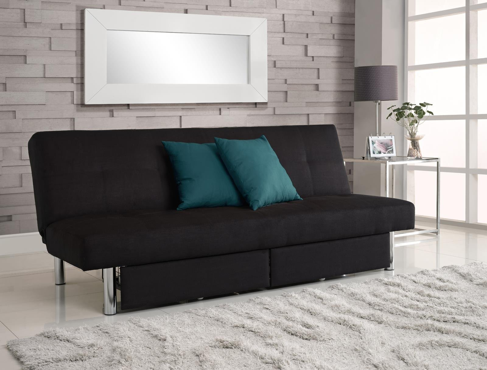 Get Quotations Dhp Sola Convertible Sofa Futon With E Saving Storage Compartments Chrome Legs And Upholstered In