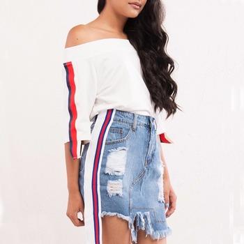 Latest Sexy Girls Cotton Short Skirt Fashion Women Distressed Denim Athletic Side Stripe A Line Mini