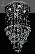 2014 chrome chandelier lighting fixture clear crystal/ ceiling light with led