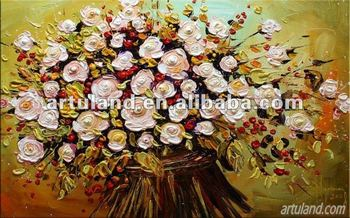 Exceptionnel Modern Yellow Flowers Palette Knife Painting For Sale/design Modern Painting  Flowers