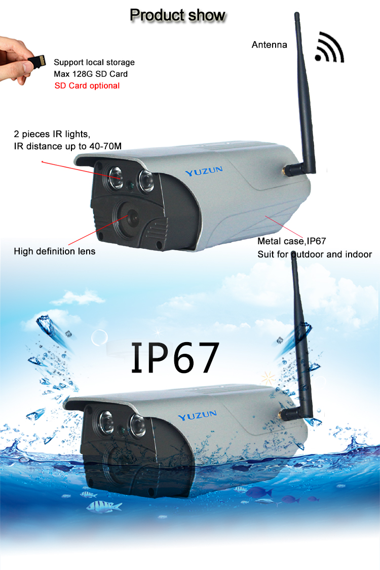 Akses Internet Nirkabel IR IP67 Tahan Air CCTV Bullet Camera Rain Cover Penggunaan Outdoor dan Indoor Monitor IP Camera