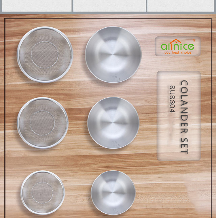 New arrival stainless steel colander strainer/basket strainer and mixing bowl set