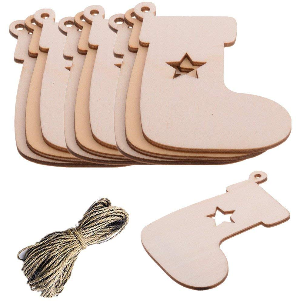 Pack of 10 Christmas Stocking Wooden Blank Wood Gift Tags Crafts Wood Slices with Holes Cutouts for Kids Crafts Christmas Tree Decoration with 20 Meters Twine