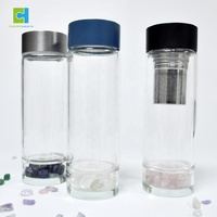 550ml Leak-proof Stainless Steel Lid Healing Gem Infusion Elixir Water Bottle with Crystal