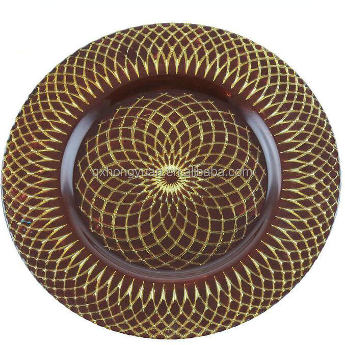 33cm Wholesale Manufacture Glass Brown Charger <strong>Plates</strong>