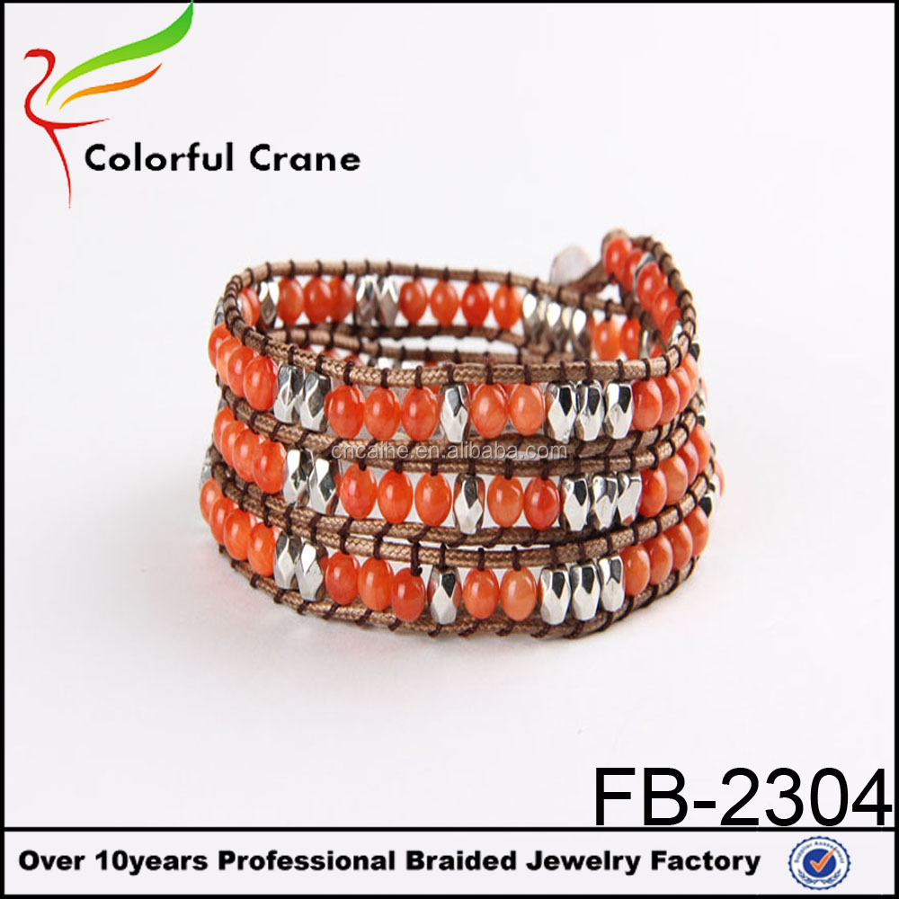 The most popular products, natural crystal stone leahter wrap leather rope bracelet,wrap leather bracelet wholesale