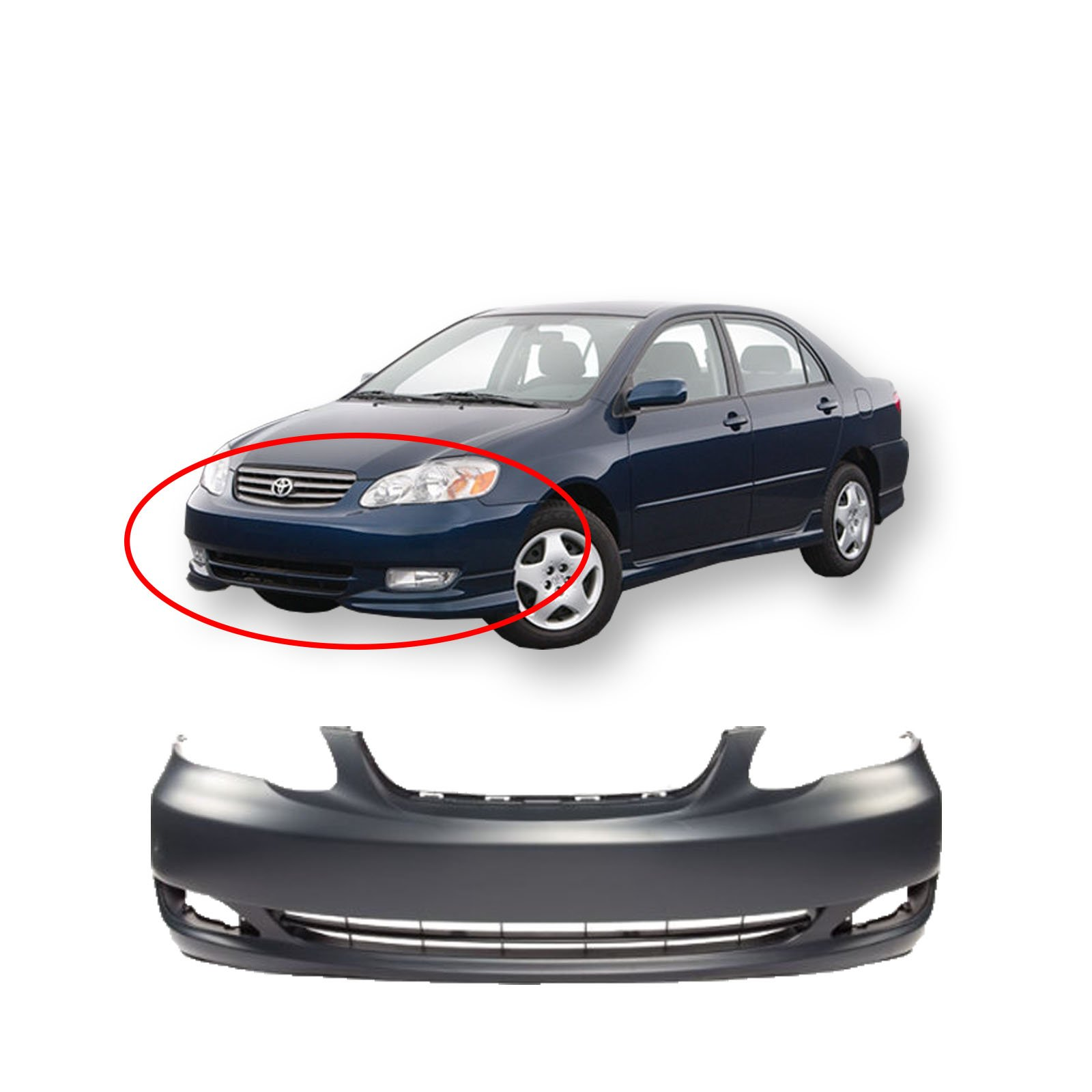 NEW Painted to Match Front Bumper Cover for 2005-2008 Toyota Corolla CE LE 05-08