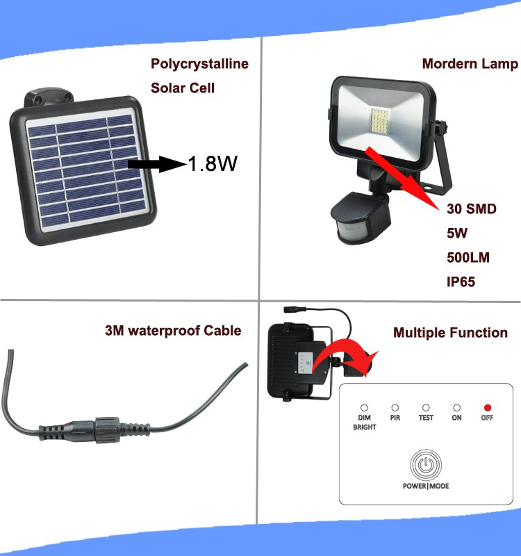Aluminum solar security light with PIR motion for outdoor lighting