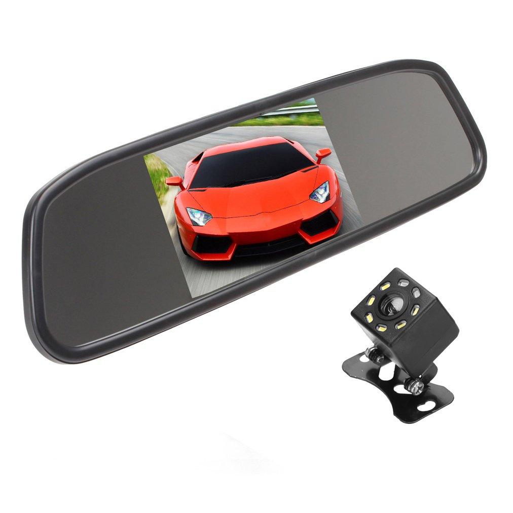 KASIONVI Backup Camera and Monitor Kit,4.3 inch Car Vehicle Rearview Mirror Monitor for DVD/VCR/Car Reverse Camera + CMOS Rear-view Backup Parking Camera With 8 LED Night Vision