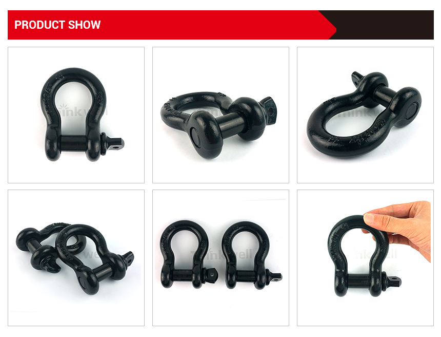 4.75T Black Forging US Type G209 D Ring Bow Shackle