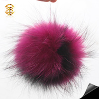Beautiful large raccoon fur pompom handmade real fur pompon thick density fur ball