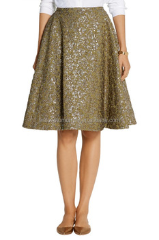 57ab1b5aed4a04 nieuwe collectie dames korte mini rok metallic jacquard rok knie lengte zit  in de taille rok