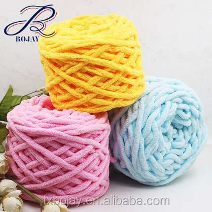 Polyester chenille yarn 100% polyester for scarf and slipper Multicolor and Solid color