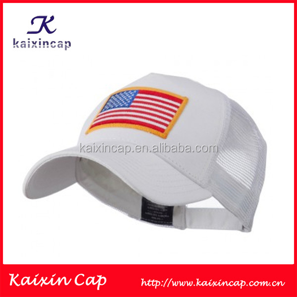 Most Popular Advertising Trucker Mesh Cap With Custom Flame Embroidered Patch Logo