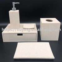 Hotel white sandstone resin concrete bathroom accessories sets